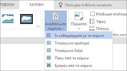 Εικόνα μορφοποίησης - αναδίπλωση κειμένου στην αναπτυσσόμενη λίστα