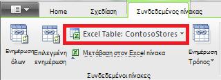 """Κορδέλα """"Συνδεδεμένος"""" που υποδεικνύει πίνακα του Excel"""