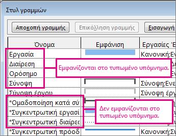 """Το παράθυρο διαλόγου """"Διαμόρφωση στυλ γραμμών"""" που εμφανίζει τις γραμμές που θα συμπεριληφθούν ή δεν θα συμπεριληφθούν στην εκτύπωση"""