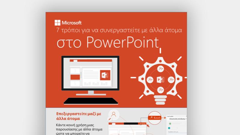 Πληροφοριακό διάγραμμα που δείχνει 7 τρόπους συνεργασίας στο PowerPoint