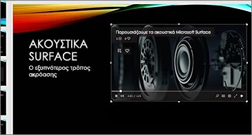 Διαφάνεια που περιλαμβάνει ένα online βίντεο