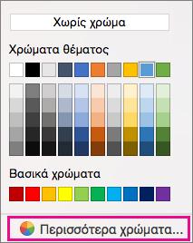Επιλογές χρώματος σκίαση με πιο χρώμα επισημασμένο.