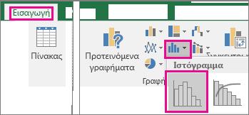 """Εντολή """"Ιστόγραμμα"""" με πρόσβαση από το κουμπί """"Εισαγωγή γραφήματος στατιστικής"""""""