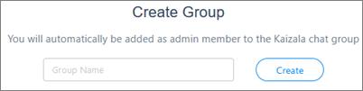 Στιγμιότυπο οθόνης: Πληκτρολογήστε το όνομα για να δημιουργήσετε μια νέα ομάδα Kaizala
