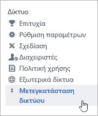 """Στιγμιότυπο οθόνης του στοιχείου μενού """"Μετεγκατάσταση δικτύου"""" για διαχειριστές του Yammer"""