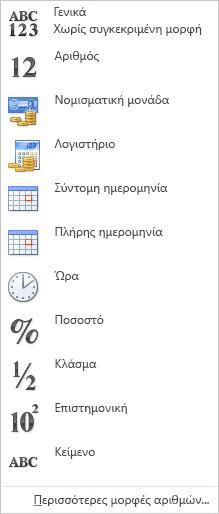 Συλλογή μορφών αριθμών