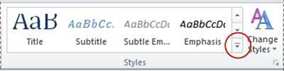 """Κουμπί """"Περισσότερα στυλ"""" του Word 2010"""
