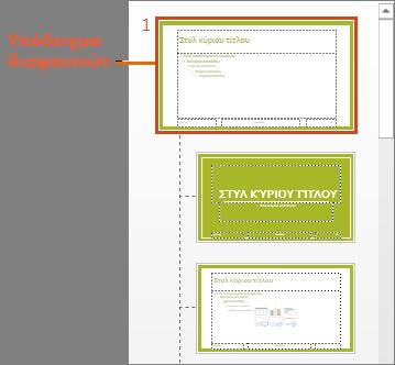 Υπόδειγμα διαφανειών με διατάξεις