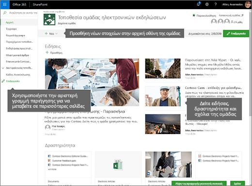 Αρχική σελίδα της τοποθεσίας ομάδας SharePoint Online