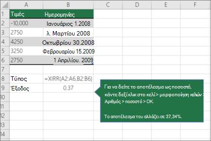 Ένα παράδειγμα της συνάρτησης XIRR