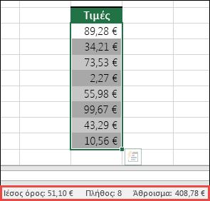 Στιγμιότυπο οθόνης της επιλογής μιας περιοχής κελιών και, στη συνέχεια, αναζήτησης στη γραμμή κατάστασης