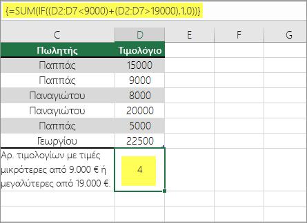 Παράδειγμα 2: Συναρτήσεις SUM και IF ένθετες σε έναν τύπο