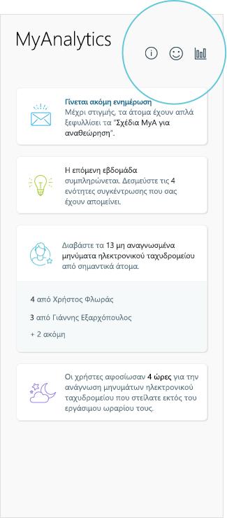 Στιγμιότυπο οθόνης των αποτελεσμάτων MyAnalytics