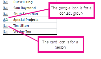 People icons are for contact groups, and card icons are for individuals