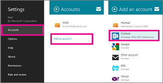 Windows 8 Mail menu pages: Settings > Accounts > Add an Account