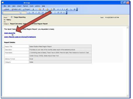 When Duet delivers a report, it sends an email notification message.