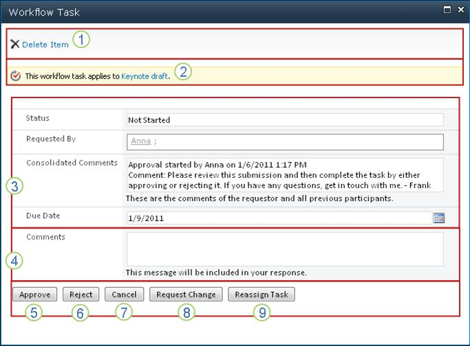 Workflow task form