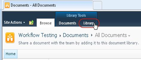 Ribbon with Library tab called out