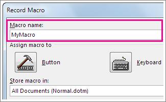 Macro name box