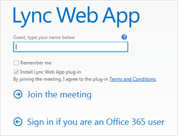 Lync Web App sign-in screen showing name box and sign-in options