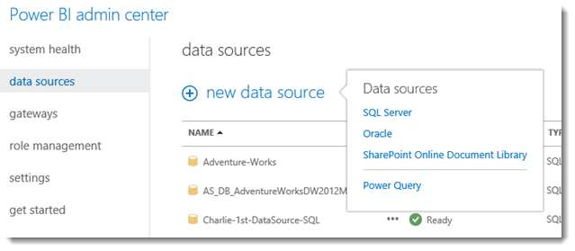 Power BI Admin Center - add a data source