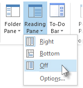 Reading Pane off command on the ribbon