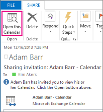 Open this Calendar button on a received calendar sharing invitation