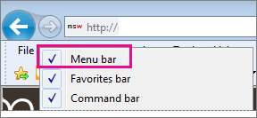 Showing the menu bar in Internet Explorer