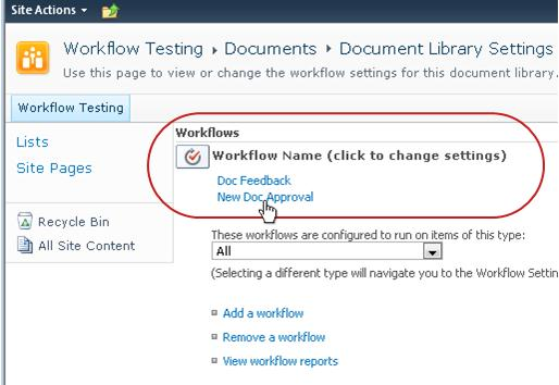 Link to change workflow settings