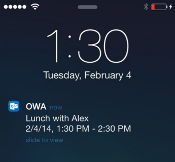 iPhone lock screen showing OWA for iPhone meeting alert