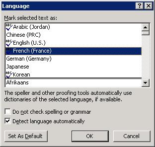 Language dialog box