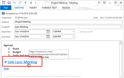 Lync Meeting request with Join Lync Meeting link highlighted