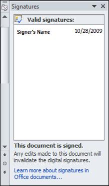 Signatures Pane with valid signer