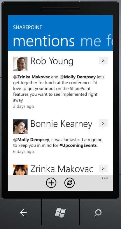 SharePoint Newsfeed App mentions screen