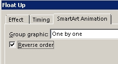 Part of SmartArt Animation tab showing Reverse Order check box