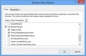 Excel Browser View Options box