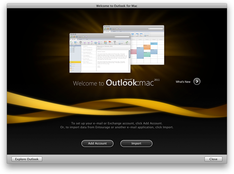 Outlook start screen