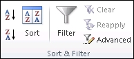 The Sort and Filter group on the Data tab