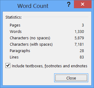 Word counter essay