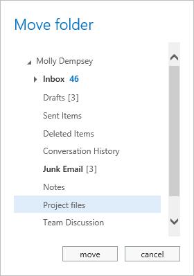 Move folder window
