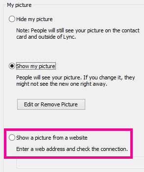 Screen shot section of Lync my picture options window with select picture from website highlghted