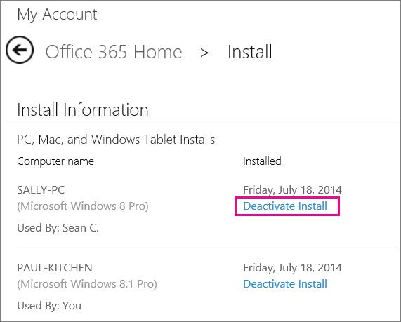 Deactivate an install