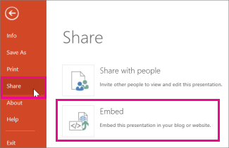 Click Share and then click Embed