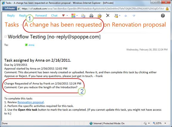 Notification sent when change in item is requested