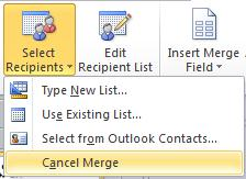 Cancel mail merge