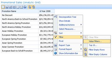 Analytic grid with Filter options displayed on right-click menu