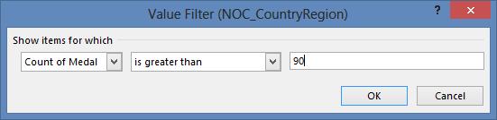 Value Filter window