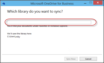 OneDrive for Business sync app wizard with an empty web address box