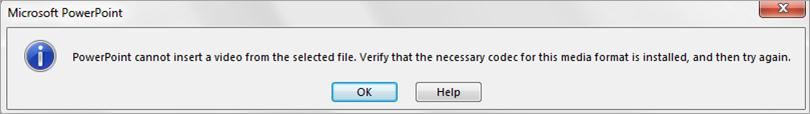 Error message suggests you install codec