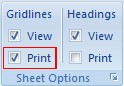 Option for printing gridlines